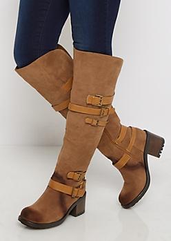 Cognac Buckle Chunky Heel Knee High Boot