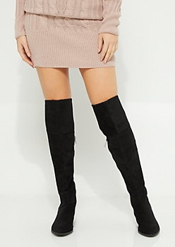 Black Fringed Thigh High Boot