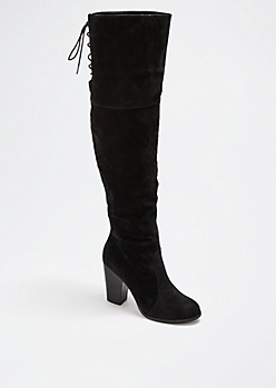 Black Laced Over-The-Knee Boot by Chase & Chloe®