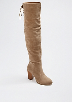 Nude Laced Over-The-Knee Boot by Chase & Chloe®