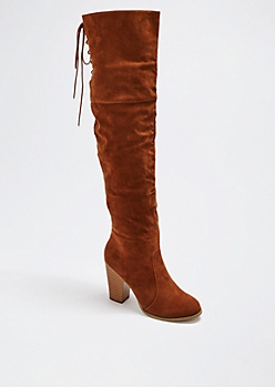 Tan Laced Over-The-Knee Boot by Chase & Chloe®
