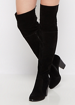 Black Lace Up Over the Knee Boot by Chase & Chloe®