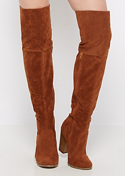 Brown Lace Up Over-the-Knee Boot by Chase & Chloe®