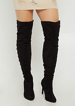 Black Faux Suede Stiletto Over The Knee Boot By Hot Kiss