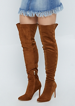 Taupe Faux Suede Stiletto Over The Knee Boot By Hot Kiss