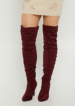 Burgundy Faux Suede Stiletto Over The Knee Boot By Hot Kiss