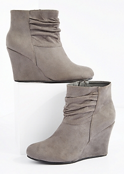 Gray Scrunched Wedge Heel