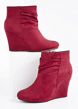Burgundy Scrunched Wedge Heel