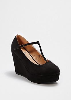 Black T-Strap Wedge Heel