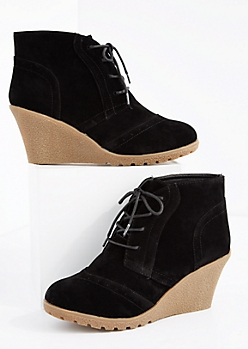 Black Faux Suede Lace-Up Wedge Bootie