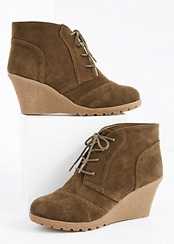 Olive Faux Suede Lace-Up Wedge Bootie