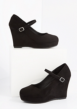 Black Mock Suede Platform Wedge