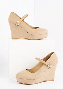 Tan Mock Suede Platform Wedge