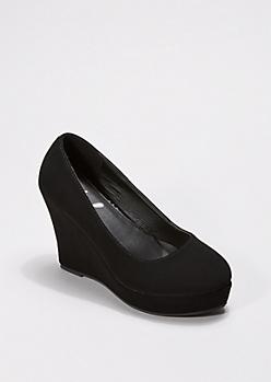 Black Microgore Wedge Heel