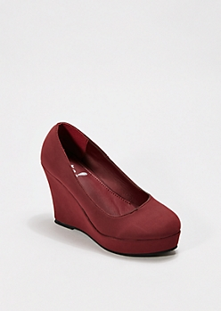 Burgundy Microgore Wedge Heel
