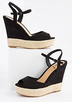 Black Open Toe Espadrille Wedge Heel