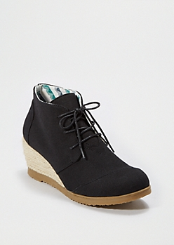 Black Espadrille Wedge Shoe