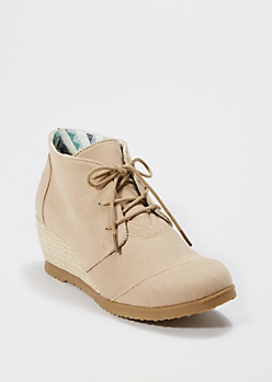 Taupe Espadrille Wedge Shoe