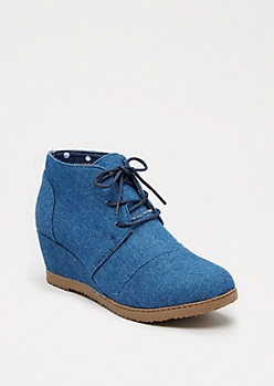 Denim Lace-Up Wedge Shoe