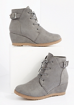 Gray Faux Suede Lace-Up Wedge