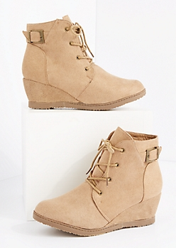 Tan Faux Suede Lace-Up Wedge