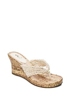 Ivory Crochet Strap Wedge Heels