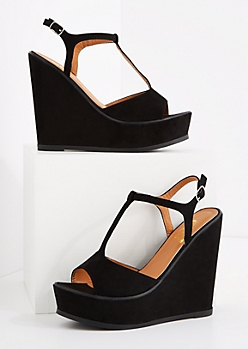 Black T-Strap Wedge Heel