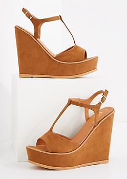 Cognac T-Strap Wedge Heel