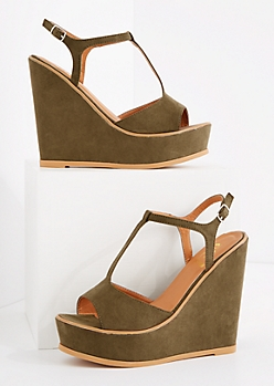 Light Olive T-Strap Wedge Heel