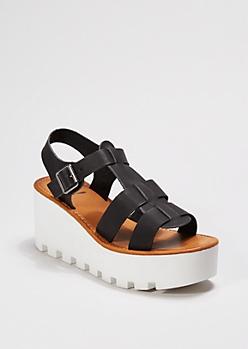 Platform Faux Leather Sandal