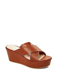 Cognac Cross Strap Platform Sandal