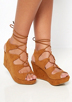 Cognac Scalloped Wedge Heel By Bamboo®