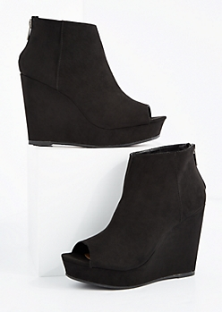 Black Peep Toe Wedge Bootie By Bamboo®