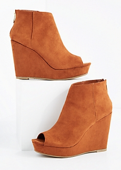 Cognac Peep Toe Wedge Bootie By Bamboo®
