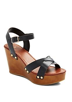Black Studded Cross Strap Wedge Heel