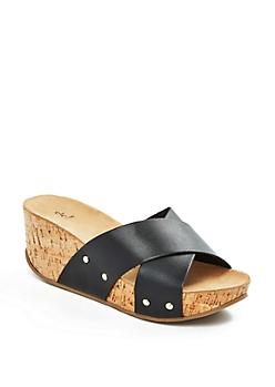Black Cross Strap Wedge Flatform Sandal