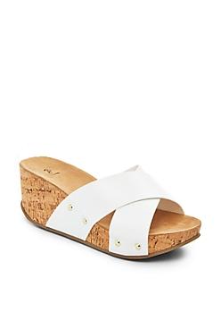White Cross Strap Wedge Flatform Sandal
