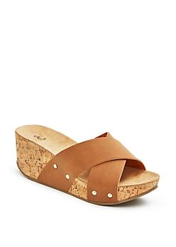 Tan Cross Strap Wedge Flatform Sandal