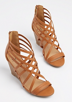 Tan Strappy Stacked Wedge Heel