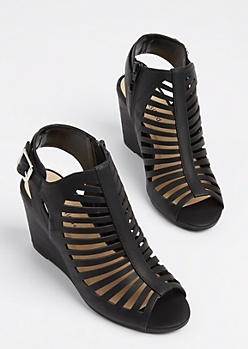 Black Cutout Wedge Heel