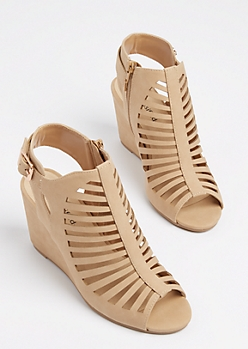 Taupe Cutout Wedge Heel