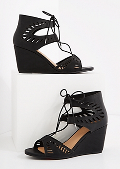Black Cutout Laced-Up Wedge Heel