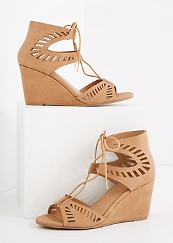 Taupe Cutout Laced-Up Wedge Heel