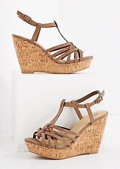 Stone Braided Cork Wedge Heel