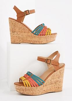 Tri-Tone Huarache Platform Wedge Sandal