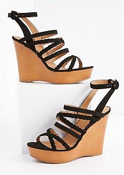 Black Braided Strappy Wedge Heel