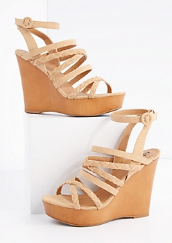 Taupe Braided Strappy Wedge Heel