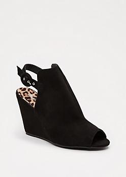 Black Peep Toe Wedge Heel By Qupid®