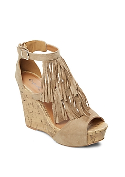 Taupe Layered Fringe Wedge By Qupid®