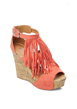 Coral Layered Fringe Wedge By Qupid®